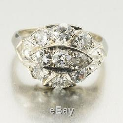 1930s Art Deco 1.70ctw Old Mine Cut Diamond Cluster Ring R0251 FREE SHIPPING