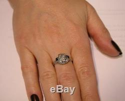 1930s Art Deco Diamond Blue Sapphire 18k Gold Filigree Engagement Ring Antique