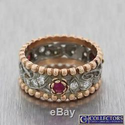 1940s Antique Art Deco 14k Rose Gold. 70ctw Diamond Ruby 8mm Wide Band Ring G8