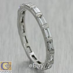 1940s Antique Art Deco Platinum Baguette Diamond Eternity Wedding Band Ring