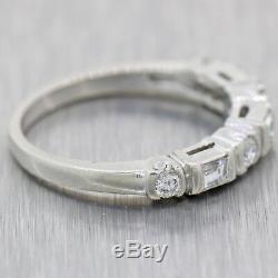 1940s Vintage Estate Platinum. 50ctw Diamond Baguette & Round Ring Band D8