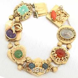 1950's Vintage Estate 14k Yellow Gold Slide Charm Bracelet