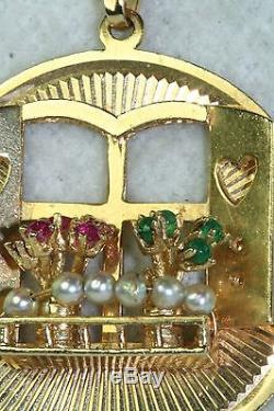 1950's Vintage Huge Large 14k Gold Ruby Emerald Pearl Window Home House Charm