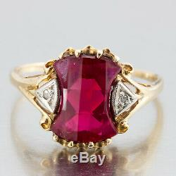 1950's Vintage Retro 14k Yellow Gold Ruby And Diamond Cocktail Ring Size 10.5