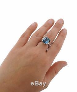 1950s 14k Gold 6ct Aquamarine Diamond Ring