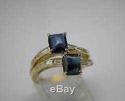 1950s Art Deco Retro 2ct Blue Sapphire Baguette Diamond 0.50 Ctw 18k Gold Ring