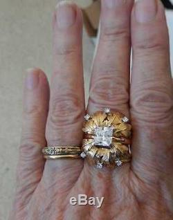 1960s Diamond 14K Gold Custom Ring Guards Sz 8 + Bonus 2 ct Ring Enhancer