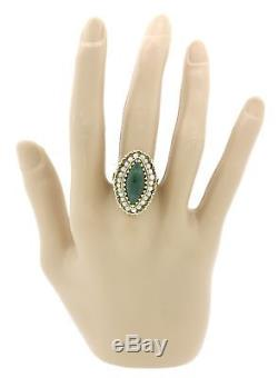 1960s Vintage Victorian Style 14k Solid Yellow Gold Jade Pearl Navette Ring