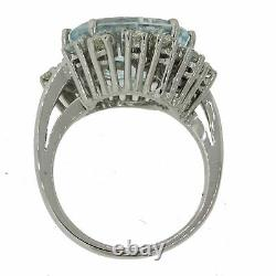 1980s Vintage 14k Solid White Gold Chunky Aquamarine. 85ctw Diamond Ring