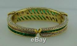 1990s Harry Winston Emerald & Diamond 14k Yellow Gold Over Bangle 7.5 Bracelet