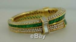 1990s Vintage RARE Emerald & Diamond 14k Yellow Gold Over Bangle 7.5 Bracelet