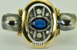 19th C. Victorian Occultist's Memento Mori Skulls 14k gold, Diamonds&Sapphire ring