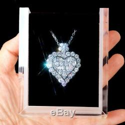 1Ct 100% Natural Diamond 14K White Gold Cluster Necklace EFFECT 3.5Ct PWG64