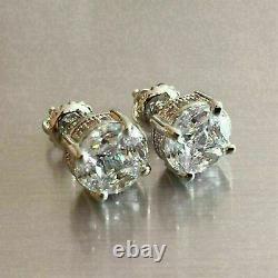 2.00 Ct Round Cut VVS1 Diamond Antique Vintage Stud Earrings 14K White Gold Gift