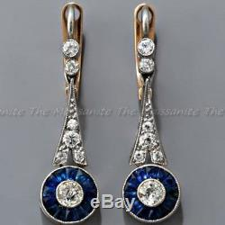 2.19 Ct Diamond Antique Art Deco Vintage 14K Gold Over Rare Dangle Earring 1935