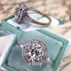 2.27 Ct Vintage Antique Art Deco White Moissanite Fine 14K White Gold Over Ring