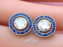 2.30Ct Round Cut White Diamond in 14K Gold Over Stud Halo Anniversary Earring