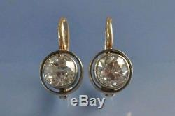 2.30Ct Round Dimaond Cut Vintage Art Deco Antique 14K Gold Over Dangle Earring