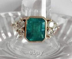 2.45Ct Emerald Green Emerald Antique Vintage 14K Yellow Gold Over Wedding Ring