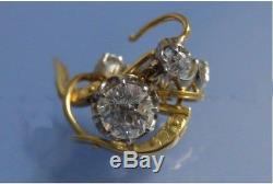 2.50Ct Round Diamond Vintage Art Deco Antique 14K Yellow Gold Over Stud Earring