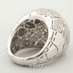 2.59ct Round Diamond Pave Dome Cluster Heavy 18k White Gold Ring VTG Estate NR