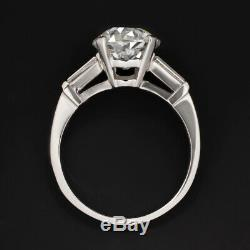 2.5ct CERTIFIED G SI2 OLD CUT DIAMOND ENGAGEMENT RING PLATINUM EUROPEAN VINTAGE