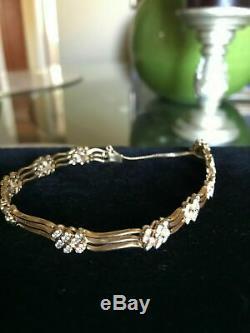 2.5ct VVS-VS Diamond Cluster Heavy 18k Yellow Gold Tennis Bracelet VTG Estate NR