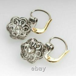 2 Ct Antique Vintage Art Deco Diamond Halo Earrings 1930s 14K White Gold Finish