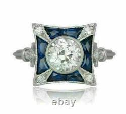 2 Ct Diamond Vintage Antique Retro Wedding Art Deco Ring 14k White Gold Finish