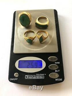 26g 22K-24K SOLID GOLD CHINESE ESTATE RING LOT Jade, Dragon, Phoenix Very Fine
