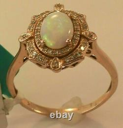 2Ct Oval Cut Opal Halo Unique Vintage Women's Engagement Ring 14K Rose Gold Over