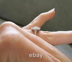2Ct Round Cut Diamond Antique Halo Art Deco Engagement Ring 14K White Gold Over