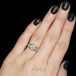2ct VINTAGE DIAMOND PLATINUM ENGAGEMENT RING OLD EUROPEAN CUT ANTIQUE ART DECO