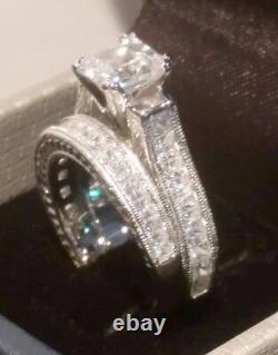 3.00 Ct Princess cut Engagement ring set Antique White Gold Platinum Finish