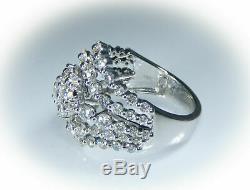 3.5ct VS Diamond Cluster 14k White Gold Wide Cocktail Statement Ring VTG Estate