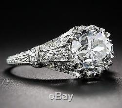 3.80 Ct Edwardian AntiqueStyle Genuine Diamond VS2 F Platinum European Round