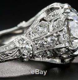 3.81 Ct Edwardian Antique/Style Genuine Old European cut Diamond VS2 F Platinum