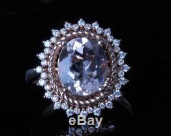 $34100 GIA Certified Diamonds and Peach Morganite 14k Rose Gold Ring Estate Halo