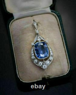 3Ct Cushion Blue Tanzanite Vintage Pendant Necklace 14K White Gold Gp Free Chain