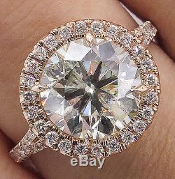4.01ct Estate Vintage Round Diamond Halo Engagement Wedding Ring 14k Rose