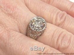 4.10ct Diamond Old Euro WHITE Ring I Color Orig Deco Platinum Filigree Antique