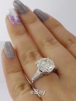 4.37 ct Vintage Antique Platinum Old European Cut Diamond Engagement Ring GIA