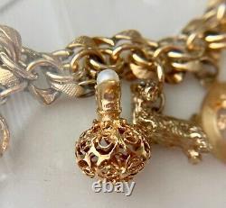 4 Vintage 14K-18K Gold Charms Rubies Pearl + Gold Fill Charm Bracelet Locket