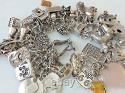 41 Vintage Sterling Silver Charm Bracelet Mid-Century Theme Mechanical