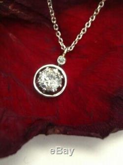 42CT Natural Old Mine Cut Diamond Art Deco Solitaire Pendnat 18K 14K White Gold