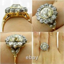 4CT Antique Art Deco Diamond Cluster Engagement Ring 14K Yellow Gold Finish