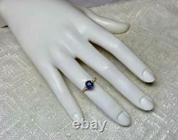 75CT Sapphire Wedding Engagement Ring 14K Gold Victorian Art Deco