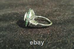 925 Sterling Silver 1.8 Ct Round Vintage Art Deco Enamel Engagement Ring