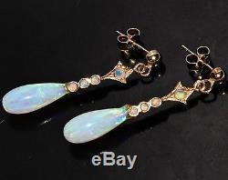 9ct Yellow Gold Opal Dropper / Dangling Art Deco Design Stud Earrings