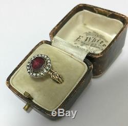 A Beautiful Georgian 2ct Garnet Intaglio & Rose Cut Diamond Cluster Ring 1800's